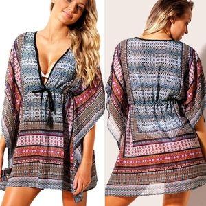 Boho Scarf Print Kaftan Swimsuit Cover Up XL